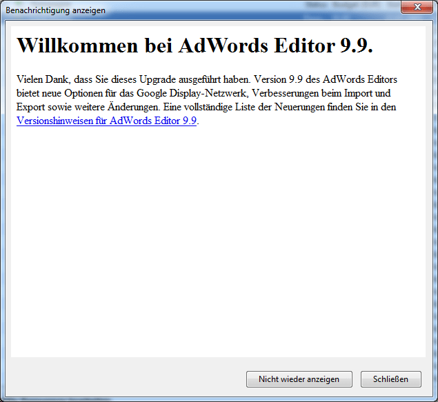 Adwords Editor 9.9