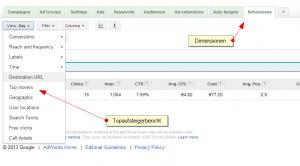 Topaufsteigerbericht Google AdWords