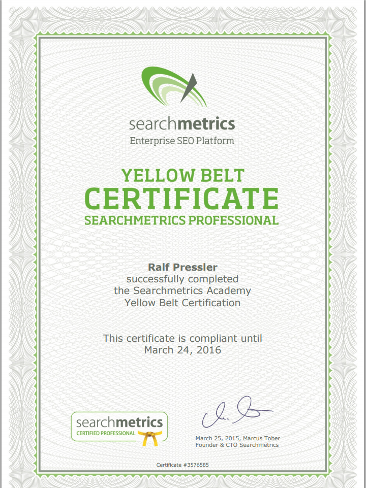 yellow belt searchmetrics